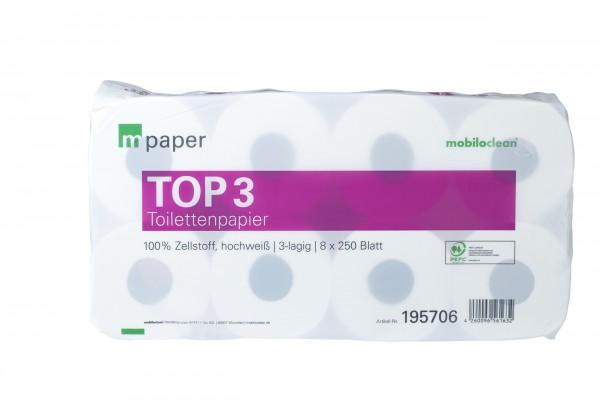 Toilettenpapier 3 lg mPaper hochweiß
